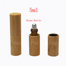 high quality 5ML roll on bamboo bottles essential oil perfume deodorant packaging bottle portable massage ball(China)
