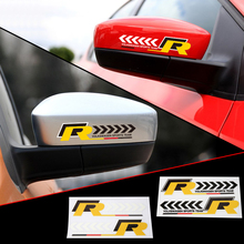 VW R Logo Auto Racing Transparent PVC Adhesive Printing Rearview Mirror Sticker Car Styling Pegatinas 3M Vinyl Wrap Decal Label