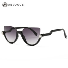 AEVOGUE Sunglasses Women 2016 Newest Semi-Rimless Frame Z-Shaped Temple Metal Hinges Sun Glasses Brand Designer UV400 AE0357(China)