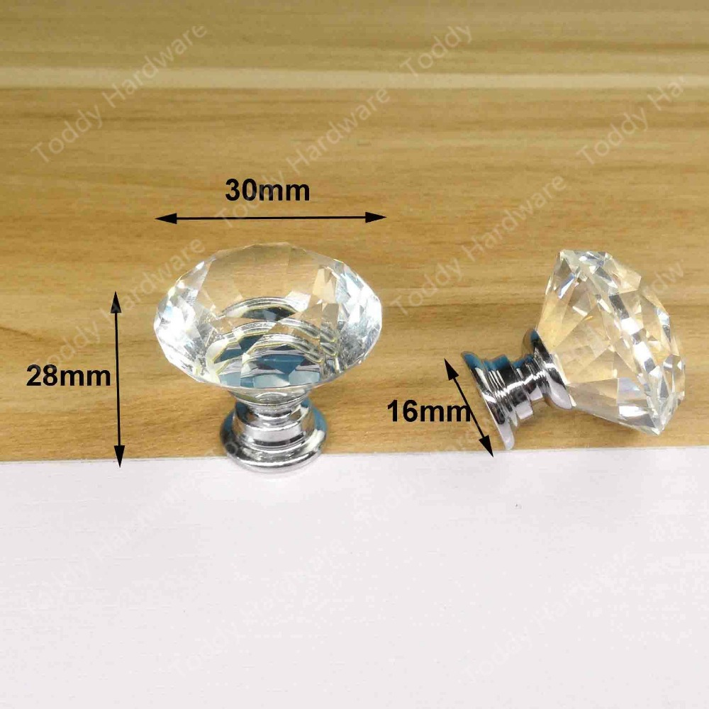 50pcs 30mm Furniture handle crystal handle Crystal Drawer Pulls and Knobs for Ccabinet Kitchen Hardware<br><br>Aliexpress