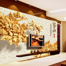 HOT SALE 3D wallpaper Chinese element classical style mural wallpaper with flowers of wood in TV background bedroom living room