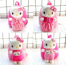 1PC 25cm overalls plaid skirt hello kitty plush doll backpacks kindergarten infant shoulder bag Satchel girl toy gift of baby