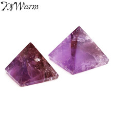 Mini Amethyst Crystal Healing Pyramid Amethyst Pyramid Crystal Crafts Ornament Home Decor Crafts Christmas New Year Luck Gifts(China)