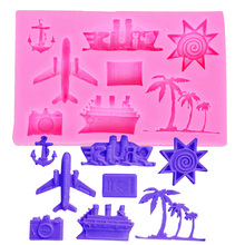 M384 Coconut trees Hook Anchor Ship Plane, Aircraft,Sunsine Silicone mold for Cake Decorating Fondant Chocolate tool10*6.3*1.1CM(China)