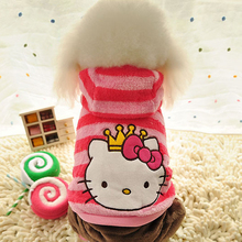 Hello Kitty Dog Clothes Jumpsuit Winter Striped warm fleece dog hoodie coat Pet clothing for Small Medium dogs Pink costume XS-L