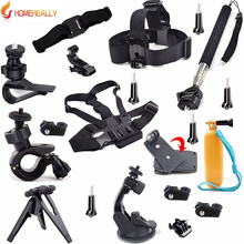 HOMEREALLY Go pro Accessory Set For Sony Action Cam AS20 AS15 AS100V AS30V Outdoor Travel Equipment With Selfie+Chest Head Strap
