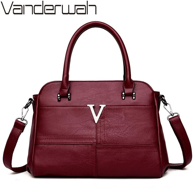 VANDERWAH Top-handle bags Leather luxury handbags women bags designer female Embroidery casual shoulder bag Tote for girls SAC<br>