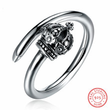 2018 New Fashion 925 Sterling Silver Pandora Rings Classic Retro Trend Crown Open Silver Ring Women Jewelry(China)