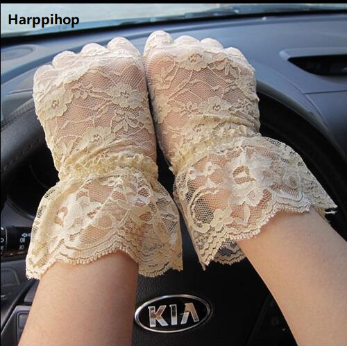 Bride sunscreen thin breathable gloves short section female spring summer drive anti-UV stretch lace arm sets(China)