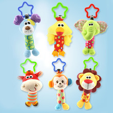 Newborn baby animal sticks hand bells baby hand holding bells toy lathe hangs puzzle bells baby carriages pendant