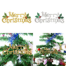 Christmas Decorations For Home Merry Christmas Door Tree Hanging Letter Decor Ornaments Gifts Silver/Gold Natal(China)