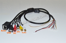 CCTV Network Cable RJ45+BNC+DC+USB+Audio input+Audio output FOR IP Camera Module(BG)