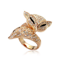 MOONROCY Free Shipping Cute Crystal Fox Ring  Jewelry Wholesale rose gold color Cubic Zirconia Fashion women's animal Gift