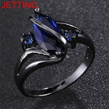 JETTING 5 Size ring for women wedding Band luxury engagement jewelry Blue Cubic Zircon Ring Charming Women Fashion ring