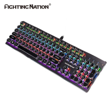 Mechanical Gaming Illuminate Backlit Keyboard Round/ Square Button Blue Switch 104 Keys Metal Aluminum Alloy Panel Backlight LED(China)