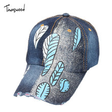 [TIMESWOOD] Leaf Cap Denim Womens Baseball Caps And Hats Adjustable Print Blue Black For Woman Summer Autumn Strapback 2017 New