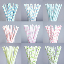 25pcs Light Color Paper Straws Happy Birthday Wedding Decorative Environmental Dot Stripe Drinking Straws Event Party Supplies