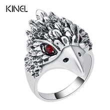 Hot Punk Animal Ring New Fashion Eagle Head Color Silver Vintage Jewelry Inlay Black Crystal Rings For Man Wholesale Jewelry(China)