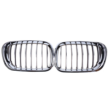 1 Pair Auto Car Kidney Grills Grille Left + Right Chrome Black Car Styling For BMW X5 E53 2000-2003 Pre-facelift Griille Mesh