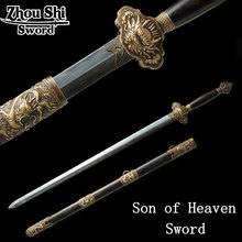 Chinese masters Hand-made emperor sword T10 burnt edges hand ground Antique home decor craft sword antique chinese swords