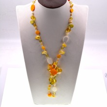 Fashion Yellow Freshwater pearl Czech seed beads shell stone long pearls necklace(China)