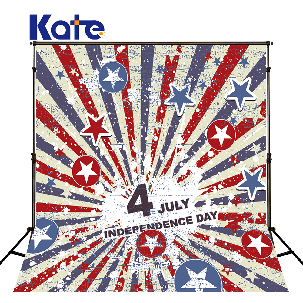 150Cmx200Cm(5Ftx6.5Ft) Kate Photographic Background Cotton American Flag Independence Day Retro Photography Background Dlr-5<br>