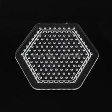 Hexagon ABC Pegboards used for DIY Fuse Beads, Clear, 83x74x6mm(China)