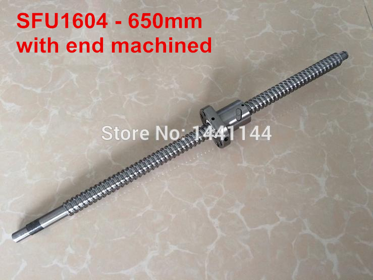 1pc Ball screw SFU1604 -  650mm + 1pc Ball nut for CNC with BK12/BF12 end machined<br>