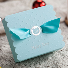 Free Shipping 50Pcs Lovely  Baby Boy Baby Girl With Bowknot Box Candy Favor CB5301 and CB5302 Celebrate Baby Shower Candy Box