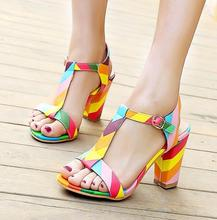 new 2016 hot fashion sandals summer sexy pumps women's high heels white platform shoes 4 color T-Strap shoes sandals for woman