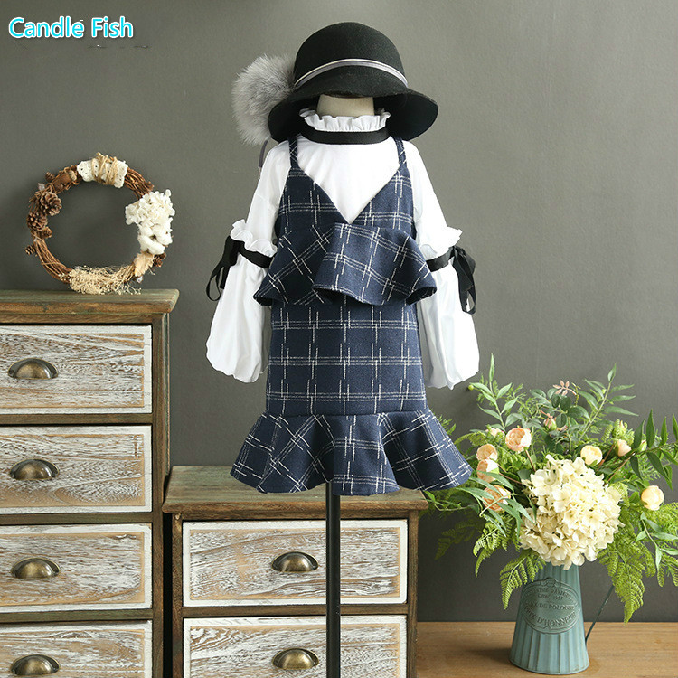 Girls set 2017 autumn new childrens puff sleeves shirt with plaid strap skirt two-piece sets for kinds<br>