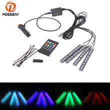 POSSBAY Car RGB LED Strip Light With Remote Strip Lights Decorative Atmosphere Lamps Foot Interior Light Car Styling(China)