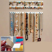 Adhesive Jewelry Earring Necklace Hanger Holder Organizer Display Rack Sticky Hooks Wall Mount Stand Tray Para VB297 P0.05