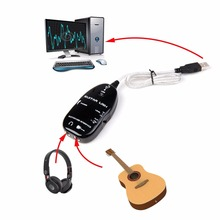50cm USB Electric Guitar Link Audio Cable Adapter Guitar to PC MAC Support 1/4'' TS Guitar Input & 1/8'' TRS Headphone Output(China)