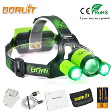 BORUIT 4000LM XML L2 XPE Headlight Green/Red/Blue/White LED Headlamp Rechargeable Flashlight for Fishing Hunting 18650 battery
