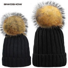 fashion Winter Hat for Woman and Child Age 2-9 Knitted Beanie Winter Baby Hat Child Fur Pom Pom Hat for Girl and Boy(China)