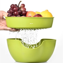 2 in 1 Multi-use Fruit Bowl / Snack Separation Residue Peel Holder Storage Box /Round Candy Bowl Leaky Design Table Decorations(China)