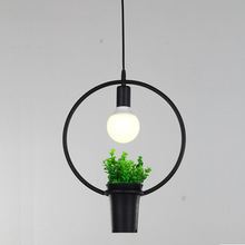 Europe breif geometry plant flower pot iron pendent lamp E27 led creative Green planting chandeliers A154(China)