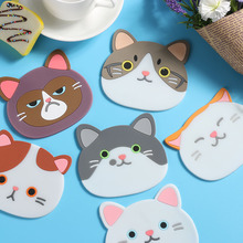 1Pc Cartoon Cat Coasters Silicone Placemat Cushion Mug Tableware Cup Tea Cup Pad Mat Creative Thicker Printing Table Mats(China)