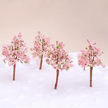 New Arrivals Model Tree Train Pink Flowers Set Scenery Landscape OO HO - 10PCS Tree Model Toys for Children Dollhouse Decor(China)