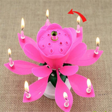 Hot Sale 1PC Beautiful Blossom Lotus Flower Design Music Candle Birthday Party Cake Music Sparkle Cake Topper Candle
