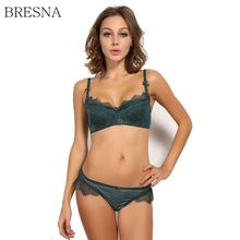 BRESNA Eyelashes Lace Bra and Panties Set Underwear Women Thin Cup Luxury Lingerie Convertible Straps White Black Green Purple