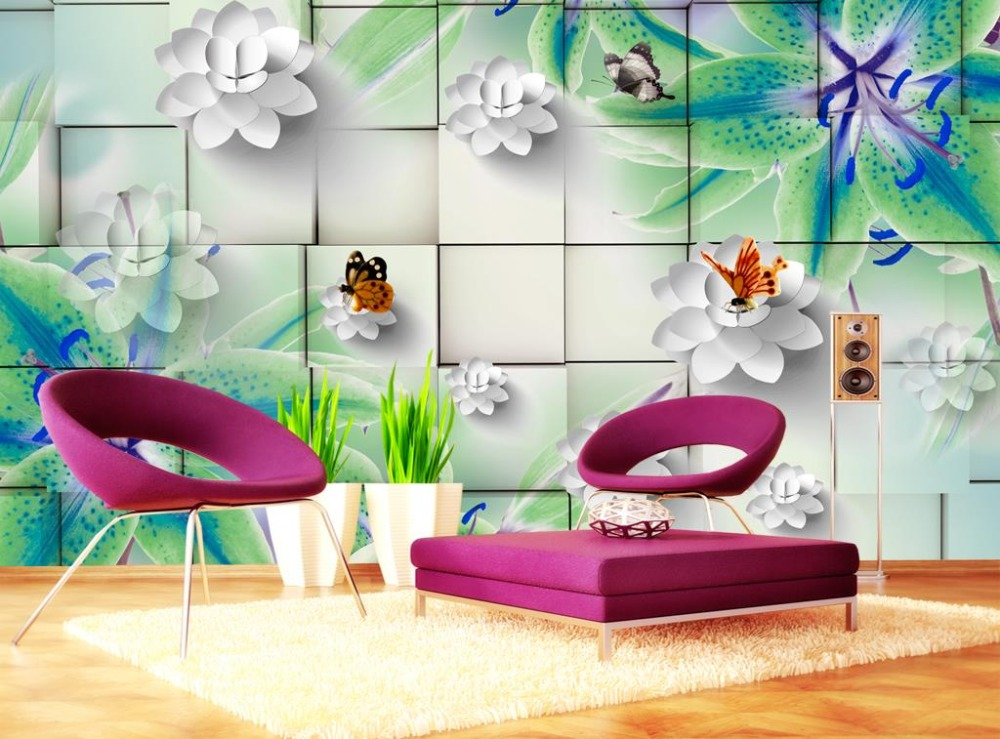 Custom Relief Stereoscopic 3d Photo Wallpaper lily 3d Mural Wallpaper Bedroomcloth Living Room Painted Background Wall paper <br>