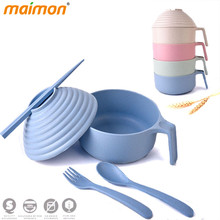 5pcs/set Degradable Wheat Straw Handle Cover Bowls Fork Set Outdoor Portable Adult Children Cutlery Set Kitchen Dinnerware