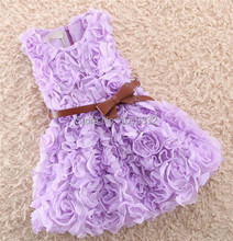 Adorable Girl Lavender Rosette Tank Dress,Girl Pageant Party Dress,Girl Princess Dress