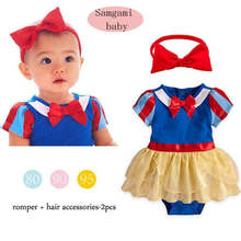 Snow white baby costume dress  toddler infant  girl summer cotton bodysuit  and matching bow headband princess dress set baby