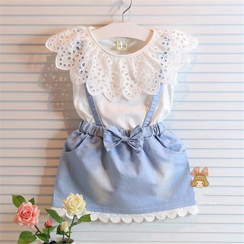 2017 blue Girls dress baby cowboy shoulder-straps summer holiday stitching sundress children with cotton<br><br>Aliexpress