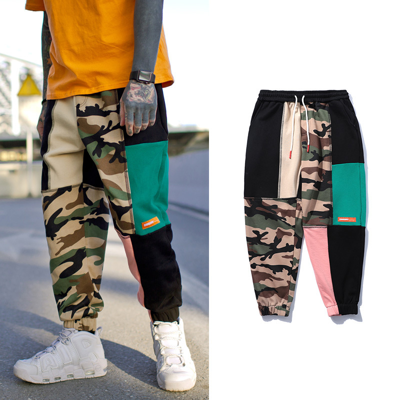 Novel ideas Mens Sweatpants Hip-hop Edition Camouflage Splice Pants Casual Zipper Pockets Joggers Sweatpants Male Cotton Trouser