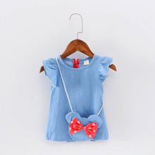 Minie Girl Denim Dresses Infant Clothing Minnie Mouse Toddler Children Deguisement Princess Dress For Girls Party Dress Kids DS7
