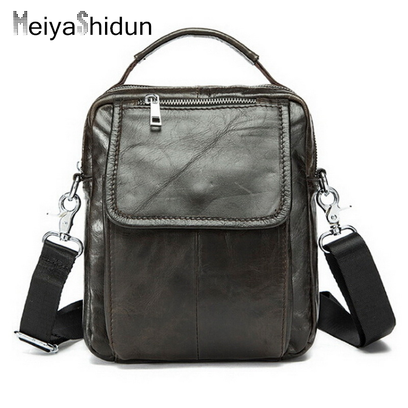 MeiyaShidun Genuine Leather Casual Handbags Cowhide Men Crossbody Bags Mens Travel Bags Laptop Briefcases Sacoche Homme bolsa<br>
